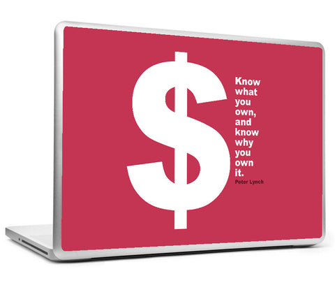 Laptop Skins, Investing Peter Lynch Own Quote Laptop Skin, - PosterGully