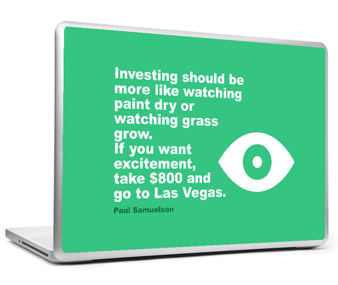 Laptop Skins, Investing Paul Samuelson Watch Quote Laptop Skin, - PosterGully