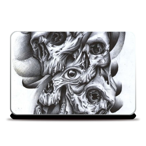 skull inside out abstract modern art Laptop Skins | Artist : akash biyani