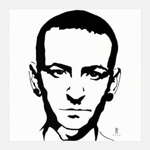 Chester Bennington Ink Square Art Prints | Artist : Ajay Varma
