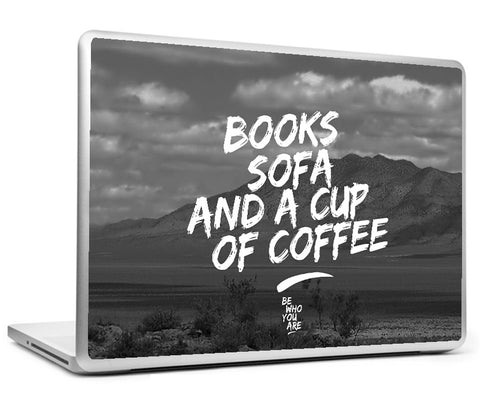 Laptop Skins, Books Sofa And Coffee #bewhoyouare Laptop Skin, - PosterGully