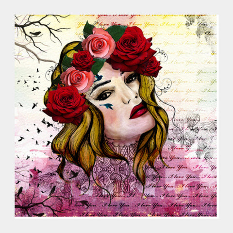 Mixed media flower girl Square Art Prints | Artist : Shweta sharma