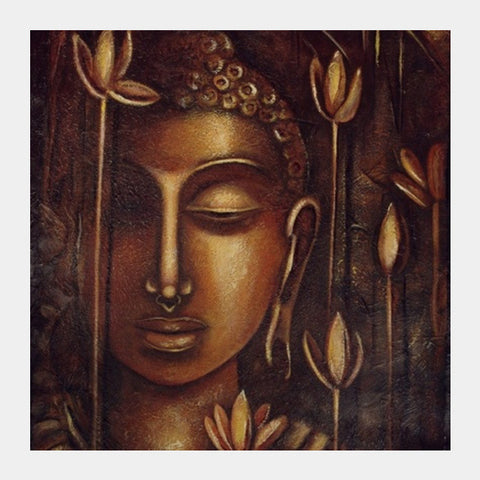 Square Art Prints, golden Buddha Square Art Prints | Artist : Raji Chacko classic paintings, - PosterGully