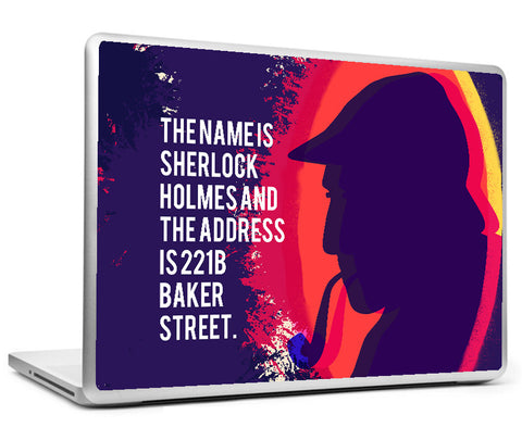 Laptop Skins, Sherlock Holmes - Quote - Name And Address Laptop Skin, - PosterGully
