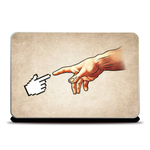 Laptop Skins, Funny 8bit Nerd & Geek Humor (Creation of Adam Parody) Laptop Skins | Artist : Philipp Rietz, - PosterGully
