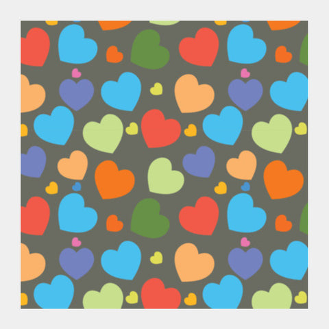 Multicolor Seamless Hearts On Dark Square Art Prints PosterGully Specials