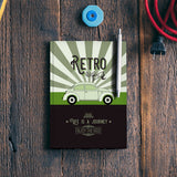 Retro vintage car on green Notebook | Artist : Designerchennai