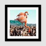Flamingos in the Desert Premium Square Italian Wooden Frames | Artist : Uma Gokhale