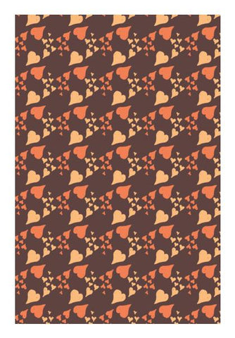 PosterGully Specials, Brown Hearts Pattern Wall Art | Artist : Designerchennai, - PosterGully