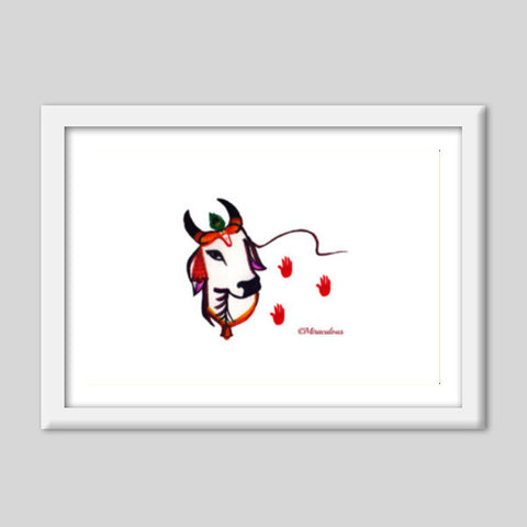 Gaiya | The adorable Indian Cow Premium Italian Wooden Frames | Artist : Miraculous