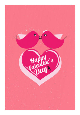 Two Pink Birds Sitting With Pink Heart Art PosterGully Specials