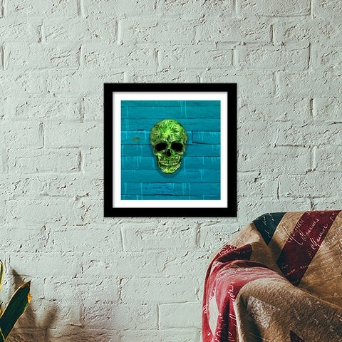 Premium Square Italian Wooden Frames, Weed Skull Premium Square Italian Wooden Frames | Artist : Dr. Green, - PosterGully - 1