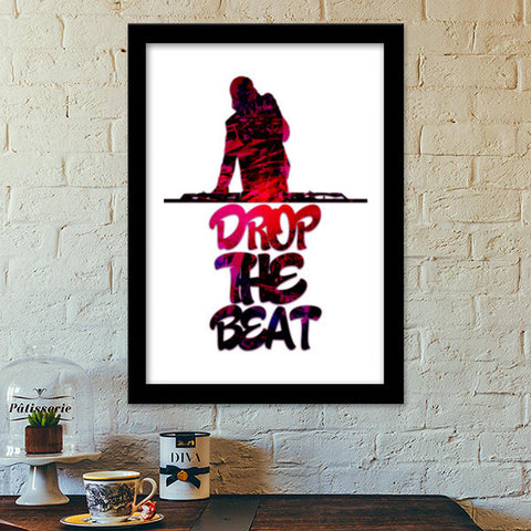Drop The Beat white Premium Italian Wooden Frames | Artist : Ajay Seth
