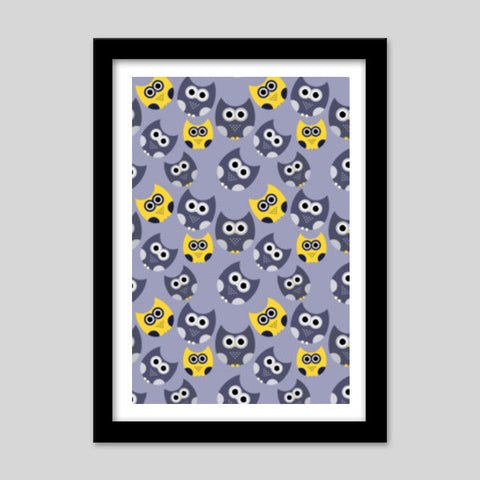 Owl illustrations pattern on gray background Premium Italian Wooden Frames | Artist : Designerchennai