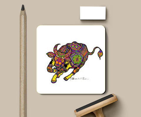 colored bull Coasters | Artist : amit kumar
