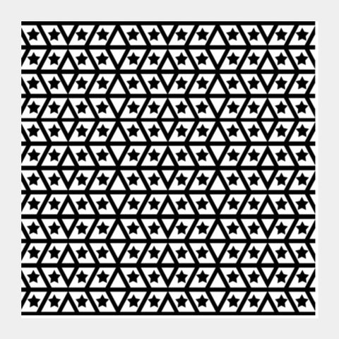 Simple Geometric Star And Lines Monochrome Black White Background Pattern Square Art Prints | Artist : Seema Hooda