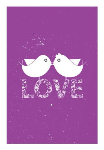 PosterGully Specials, Purple birds kissing with love Wall Art | Artist : Designerchennai, - PosterGully