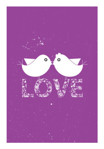 Purple Birds Kissing With Love Art PosterGully Specials