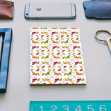 Flowers Retro Shapes Geometric Pattern On Multicolor Notebook | Artist : Designerchennai