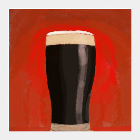 stout beer red bg Square Art Prints | Artist : Keshava Shukla