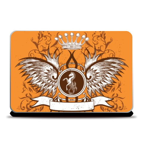 Laptop Skins, horse with wing,Crown and Floral Laptop Skins | Artist : Anshuraj Tyagi, - PosterGully