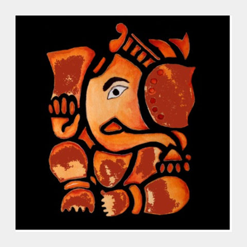 Square Art Prints, Lord Ganesha Painting Square Art Print l Artist: Seema Hooda, - PosterGully