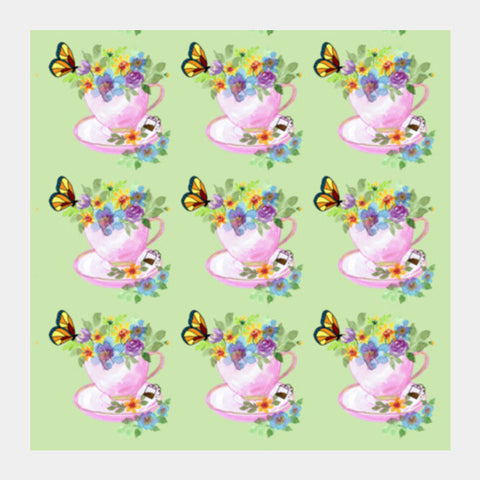 Pretty Tea Cups Pattern Poster Kitchen  Square Art Prints PosterGully Specials