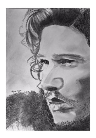 Wall Art, Crows before Hoes (Pencil drawing of Jon Snow), - PosterGully