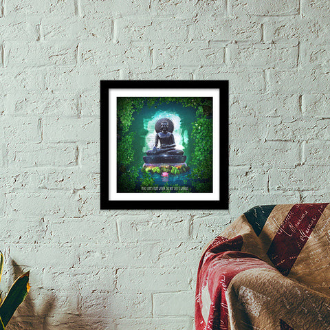 Buddha peace comes from within Premium Square Italian Wooden Frames | Artist : Cuboidesign