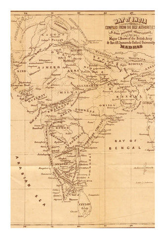 Vintage India Map Wall Art | Artist : GABAMBO