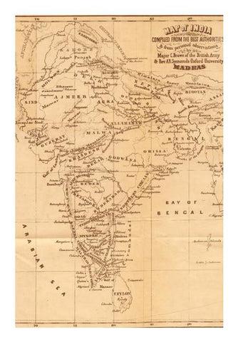 PosterGully Specials, Vintage India Map Wall Art | Artist : GABAMBO, - PosterGully