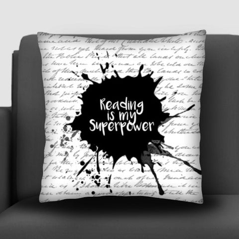 Reading is my Superpower (White) Cushion Covers | Artist : Aparna Singh