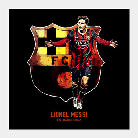 Messi - FC Barcelona Square Art Prints | Artist : Syamantak Dubey