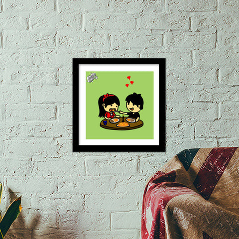 Premium Square Italian Wooden Frames, Showing Love at Candle Light Dinner..!!! Premium Square Italian Wooden Frames | Artist : Goggi's Doodles, - PosterGully - 1