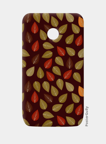 Seamless pattern with multicolored leaf on dark background Moto E Cases | Artist : Designerchennai