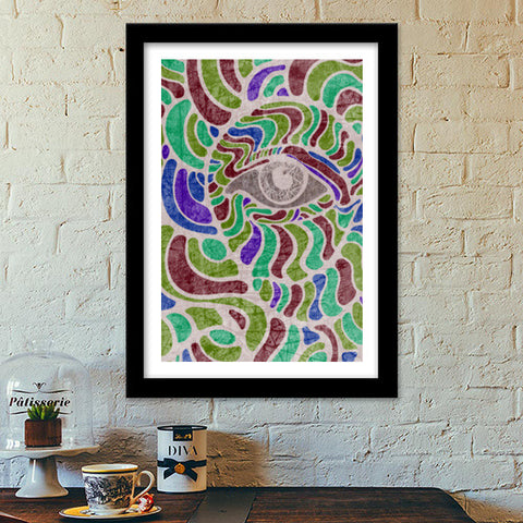abstract eye colorful vector illustration Premium Italian Wooden Frames | Artist : Simran Sain