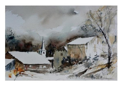 PosterGully Specials, Village in snow 5451 Wall Art | Artist : pol ledent | PosterGully Specials, - PosterGully