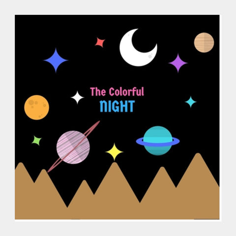 THE COLORFUL NIGHT Square Art Prints | Artist : Pallavi Rawal