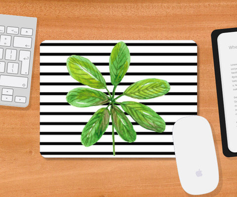 Green Leaf And Horizontal Black Stripes Design Mousepad | Artist : Seema Hooda