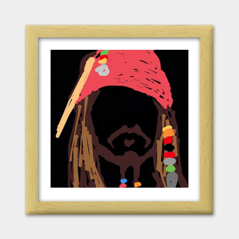 Jack Sparrow Pirates Of The Caribbean Minimal Doodle Premium Square