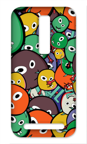 Colorful Monster Faces Doodle Asus Zenfone 2 Cases | Artist : Designerchennai