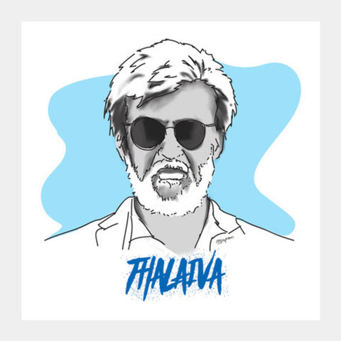 Rajnikanth - Thalaiva Artwork Square Art Prints | Artist : Anupam Prasoon