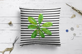 Green Leaf And Horizontal Black Stripes Design Cushion Covers | Artist : Seema Hooda