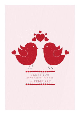 PosterGully Specials, Red hearts with red birds Wall Art | Artist : Designerchennai, - PosterGully