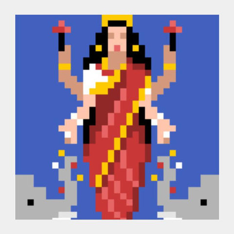PosterGully Specials, Goddess Lakshmi 8bit Avatar Square Art Prints | Artist : 8bitbaba, - PosterGully