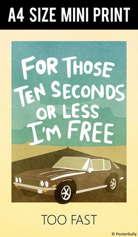 Mini Prints, 10 Seconds Blue | Fast And Furious | Mini Print, - PosterGully