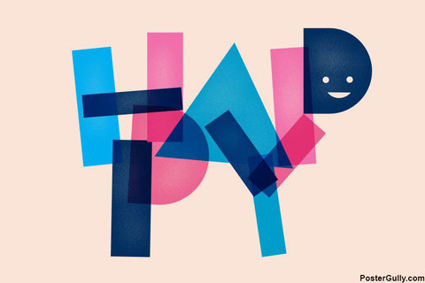 Brand New Designs, Happy Typography Smiley Artwork, - PosterGully - 1