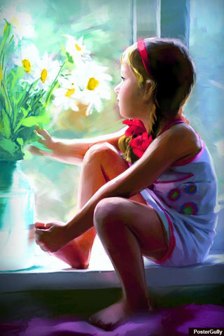 Brand New Designs, Cute Girl Painting Artwork | Artist: Raviraj Kumbhar, - PosterGully - 1