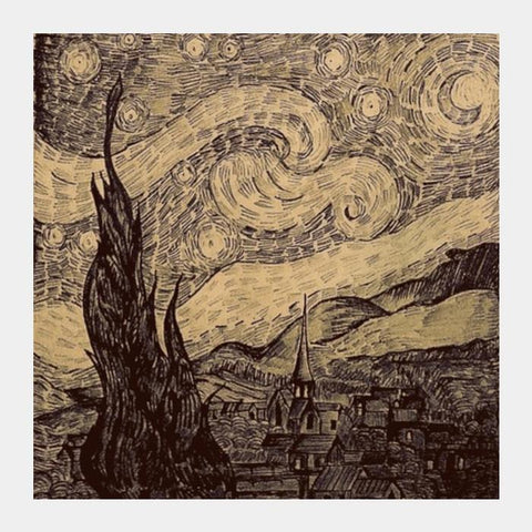 PosterGully Specials, Starry night Van Gogh sketch Square Art Prints | Artist : Sukanya Chakraborty, - PosterGully