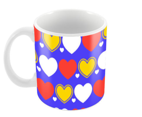 Hearts seamless multicolor pattern Coffee Mugs | Artist : Designerchennai